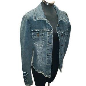 ⬇Vintage Boho Denim Jacket Crest Large Embellished
